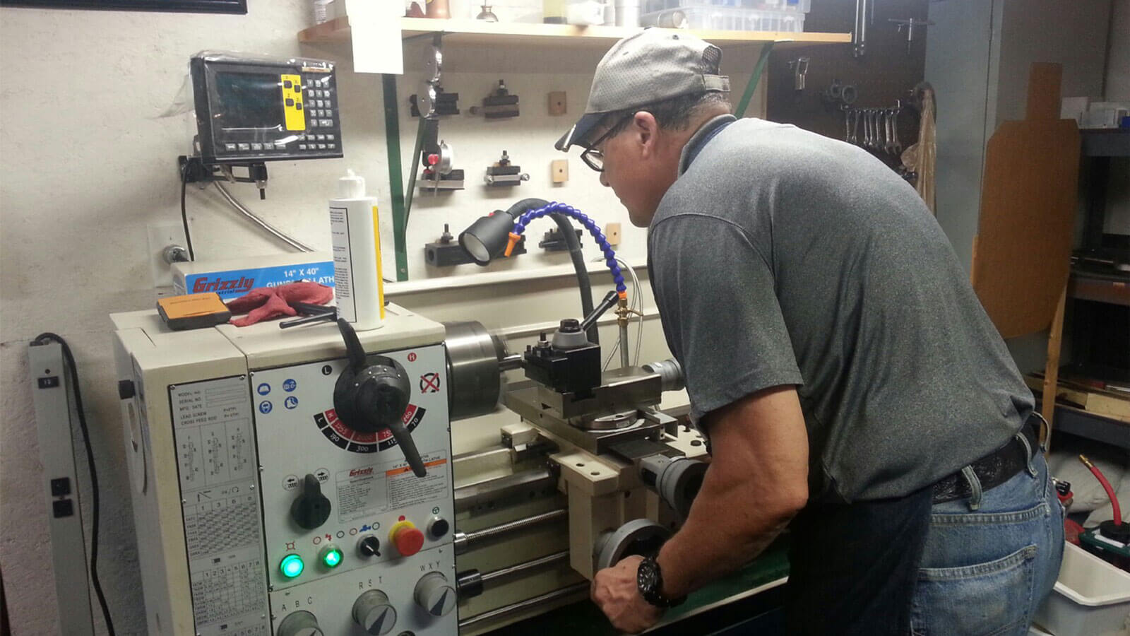 Skypilot Genseal working on his lathe