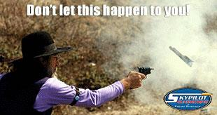 Don't let this happen to you - a photo of a handgun exploding while being fired