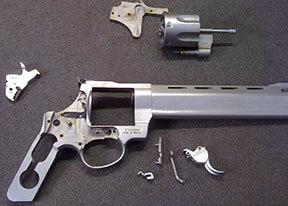 Taurus revolver disassembled for cleaning